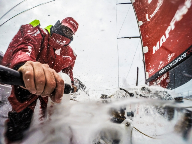 November 2, 2014. Leg 1 onboard MAPFRE. Spray over Xabi Fernandez