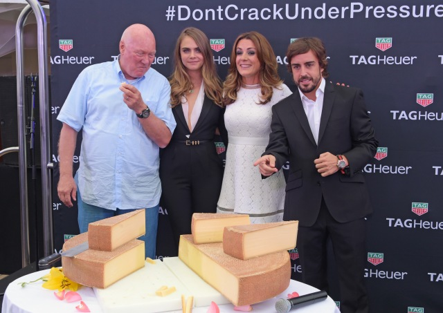 MONACO - MAY 23:  (L to R) Jean-Claude Biver, CEO of TAG Heuer, Cara Delevingne, Natalie Pinkham and Fernando Alonso attend the TAG Heuer Monaco Party on May 23, 2015 in Monaco, Monaco.  (Photo by David M. Benett/Getty Images for TAG Heuer) *** Local Caption *** Jean-Claude Biver; Cara Delevingne; Natalie Pinkham; Fernando Alonso