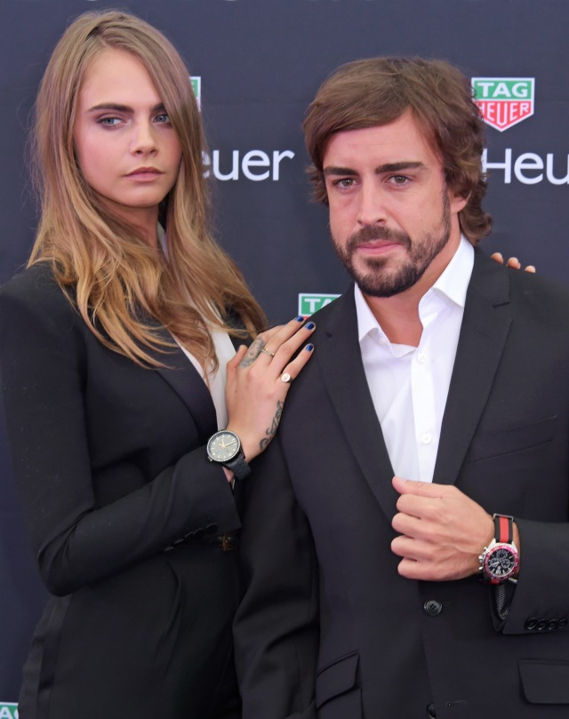 MONACO - MAY 23:  Brand ambassadors Cara Delevingne (L) and Fernando Alonso attend the TAG Heuer Monaco Party on May 23, 2015 in Monaco, Monaco.  (Photo by David M. Benett/Getty Images for TAG Heuer) *** Local Caption *** Cara Delevingne; Fernando Alonso