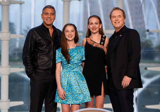 VALENCIA, SPAIN - MAY 19:  (L-R) George Clooney, Raffey Cassidy, Britt Robertson and Brad Bird attend the premiere of Disney's 'Tomorrowland' at the L'Hemisferic on May 19, 2015 in Valencia, Spain.  (Photo by Manuel Queimadelos Alonso/Getty Images) *** Local Caption *** George Clooney;Raffey Cassidy;Britt Robertson;Brad Bird