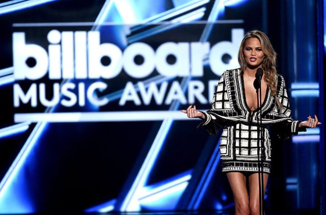 LAS VEGAS, NV - MAY 17:  Host Chrissy Teigen speaks onstage during the 2015 Billboard Music Awards at MGM Grand Garden Arena on May 17, 2015 in Las Vegas, Nevada.  (Photo by Ethan Miller/Getty Images)