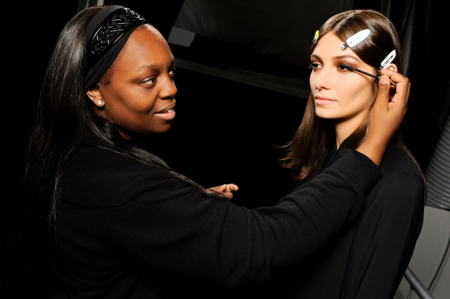 Pat McGrath Backstage at Roberto Cavalli SS15 - Glamour Extensions Mascara Application