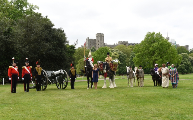 HMQ 90th Birthday launch Katherine Jenkins with the Household Calvalry Drum Horse & Household Cavalry Charger