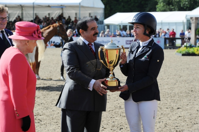 Windsor Horse Show Saturday 16.05.15 Kings Cup winner Laura Kraut presentation by the King