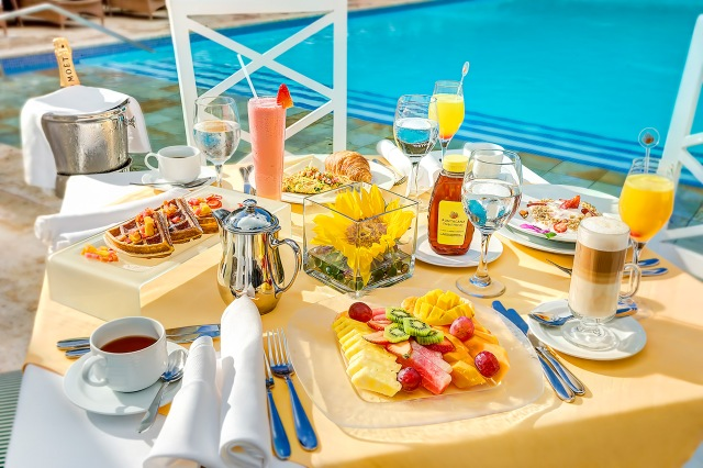 Breakfast at Bamboo restaurant, Tortuga Bay Hotel