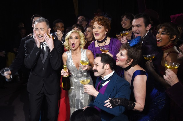 NEW YORK, NY - JUNE 07: Hosts  Alan Cumming and Kristin Chenoweth pose with the cast of 'Gigi' backstage at the 2015 Tony Awards at Radio City Music Hall on June 7, 2015 in New York City.  (Photo by Dimitrios Kambouris/Getty Images for Tony Awards Productions)