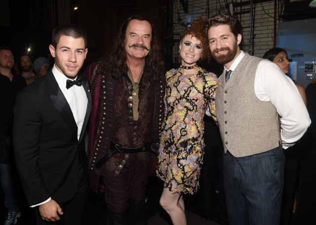 "NEW YORK, NY - JUNE 07:  Nick Jonas and Kiesza, who appear on ""Finding Neverland The Album,"" join Kelsey Grammer, Matthew Morrison, and the cast of Finding Neverland backstage during the 2015 Tony Awards at Radio City Music Hall on June 7, 2015 in New York City.  (Photo by Dimitrios Kambouris/Getty Images for Tony Awards Productions)"