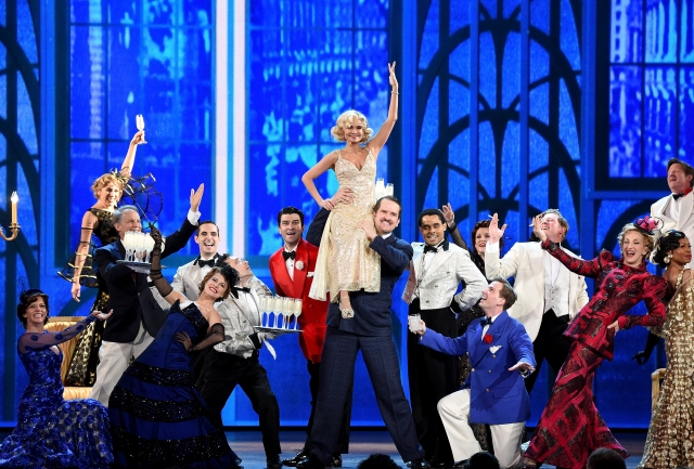 NEW YORK, NY - JUNE 07:  Kristen Chenoweth and the cast of 'On The Twentieth Century' perform onstage at the 2015 Tony Awards at Radio City Music Hall on June 7, 2015 in New York City.  (Photo by Theo Wargo/Getty Images for Tony Awards Productions)