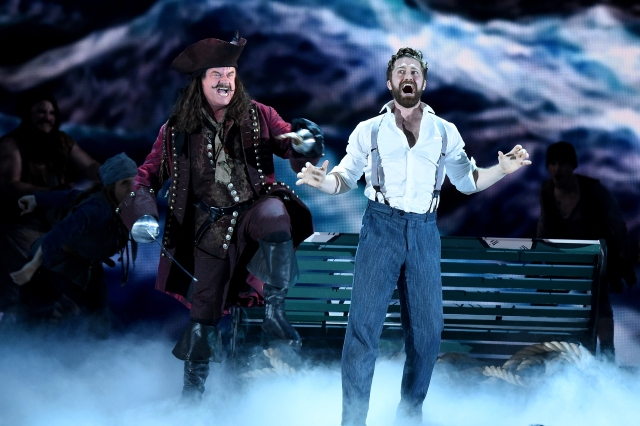 NEW YORK, NY - JUNE 07:  Kelsey Grammer and Matthew Morrison perform with the cast of 'Finding Neverland' onstage at the 2015 Tony Awards at Radio City Music Hall on June 7, 2015 in New York City.  (Photo by Theo Wargo/Getty Images for Tony Awards Productions)