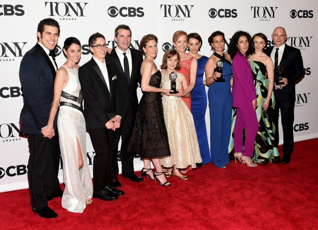 "NEW YORK, NY - JUNE 07:  The cast and creative of ""Fun Home,"" winners of the award for Best Musical, including Jeanine Tesori (4th from R), winner of the award for Best Original Score (Music and/or Lyrics) Wrtitten for the Theatre for ""Fun Home,"" and Michael Cerveris (R), winner of the award for Best Performance by an Actor in a Leading Role in a Musical for ""Fun Home,"" pose in the press room at the 2015 Tony Awards on June 7, 2015 in New York City.  (Photo by Andrew H. Walker/Getty Images for Tony Awards Productions)"