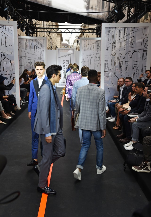 LONDON, ENGLAND - JUNE 13:  Models walk the runway at the Jermyn Street St James's catwalk show for London Collections Men on June 13, 2015 in London, England.  (Photo by David M. Benett/Getty Images for The Crown Estate)