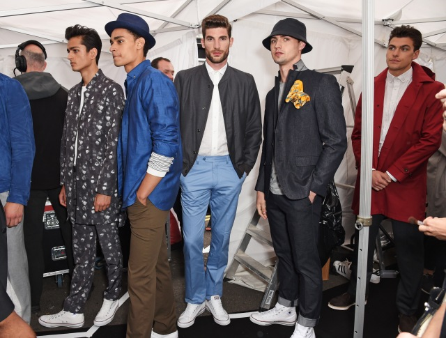 LONDON, ENGLAND - JUNE 13:  Models pose backstage at the Jermyn Street St James's catwalk show for London Collections Men on June 13, 2015 in London, England.  (Photo by David M. Benett/Getty Images for The Crown Estate)