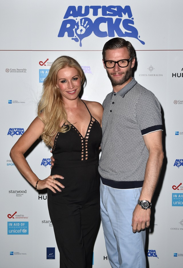 OLBIA, SARDINIA - JUNE 26:  Denise van Outen arrives with partner Eddie Boxshall at the Welcome Dinner presented by Autism Rocks prior to The Costa Smeralda Invitational Golf Tournament at Pevero Golf Club, Costa Smeralda on June 26, 2015 in Olbia, Italy.  (Photo by Valerio Pennicino/Getty Images for ProSport) *** Local Caption *** Denise van Outen; Eddie Boxshall