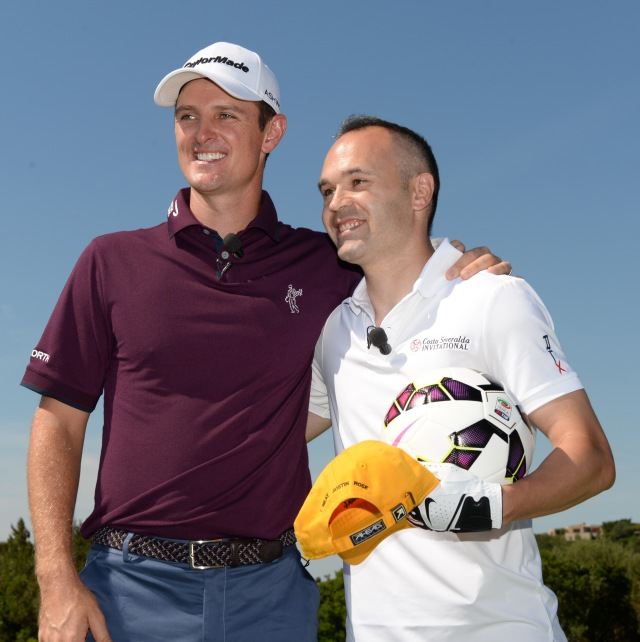 OLBIA, SARDINIA - JUNE 27:  Footballer Andres Iniesta of Spain (R) poses with Justin Rose of England during The Costa Smeralda Invitational Golf Tournament at Pevero Golf Club,  Costa Smeralda on June 27, 2015 in Olbia, Italy.  (Photo by Tony Marshall/Getty Images for ProSport) *** Local Caption *** Andres Iniesta; Justin Rose