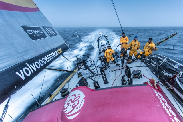 AT SEA - JUNE 17:  In this handout image provided by the Volvo Ocean Race, onboard Abu Dhabi Ocean Racing. Day 1. Azzam races towards Normandy, France in thick fog en route to The Hague during the sailing of Leg 9 starting on June 16, 2015 between Lorient, France and Gothenburg, Sweden with a Pitstop in The Hague, The Netherlands. The Volvo Ocean Race 2014-15 is the 12th running of this ocean marathon. Starting from Alicante in Spain on October 04, 2014, the route, spanning some 39,379 nautical miles, visits 11 ports in eleven countries (Spain, South Africa, United Arab Emirates, China, New Zealand, Brazil, United States, Portugal, France, The Netherlands and Sweden) over nine months. The Volvo Ocean Race is the world's premier ocean yacht race for professional racing crews. (Photo by Matt Knighton / Abu Dhabi Ocean Racing via Getty Images)
