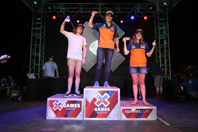 Austin, TX - June 5, 2015 - Circuit of the Americas: Tarah Gieger, Laia Sanz and Kacy Martinez on the podium after competing in Moto X Enduro X Women's Final during X Games Austin 2015 (Photo by Gabriel Christus / ESPN Images)