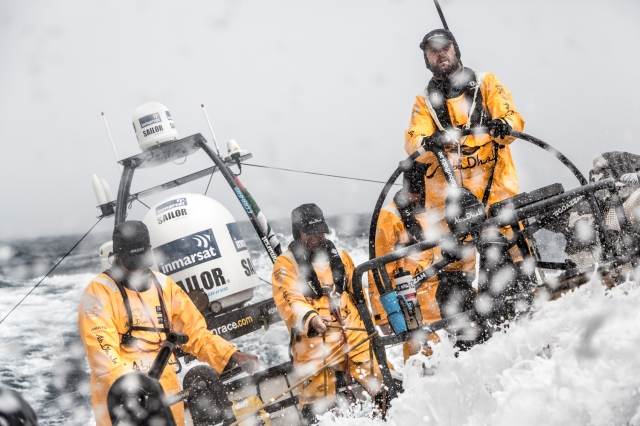 October 31, 2014. Leg 1 onboard Abu Dhabi Ocean Racing. Waves crash over the boat as the team head further south.