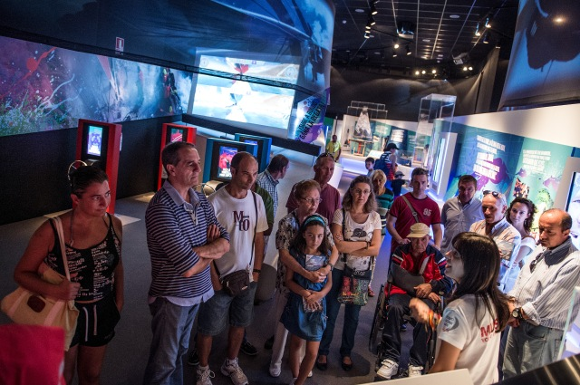 October 10, 2014. People visit the Volvo Ocean Race Museum at the Race Village