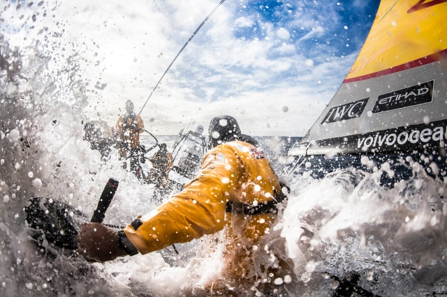 "March 23, 2015. Leg 5 to Itajai onboard Abu Dhabi Ocean Racing. Day 05.  Simon ""SiFi"" Fisher turns away from another wave as he adjusts the traveller in the Southern Ocean."