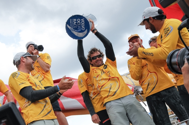 June 22, 2015. Abu Dhabi Ocean Racing celebrate after the arrivals in Gothenburg completing the 2014-15 edition of the Volvo Ocean Race.