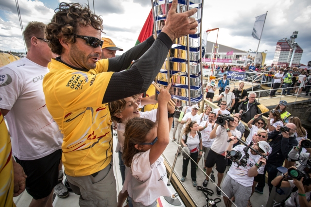 June 22, 2015.  Abu Dhabi Ocean Racing winners of the Volvo Ocean Race 2014-15.