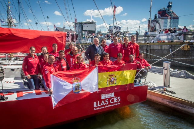 June 25, 2015. His Majesty the King Juan Carlos visiting the MAPFRE crew in the Volvo Ocean Race final Stopover in Gothenburg.