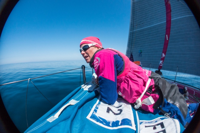 AT SEA - JUNE 17:  In this handout image provided by the Volvo Ocean Race, onboard Team SCA. Day 1.  Carolijn Brouwer during the sailing of Leg 9 starting on June 16, 2015 between Lorient, France and Gothenburg, Sweden with a Pitstop in The Hague, The Netherlands. The Volvo Ocean Race 2014-15 is the 12th running of this ocean marathon. Starting from Alicante in Spain on October 04, 2014, the route, spanning some 39,379 nautical miles, visits 11 ports in eleven countries (Spain, South Africa, United Arab Emirates, China, New Zealand, Brazil, United States, Portugal, France, The Netherlands and Sweden) over nine months. The Volvo Ocean Race is the world's premier ocean yacht race for professional racing crews. (Photo by Anna-Lena Elled/Team SCA via Getty Images)