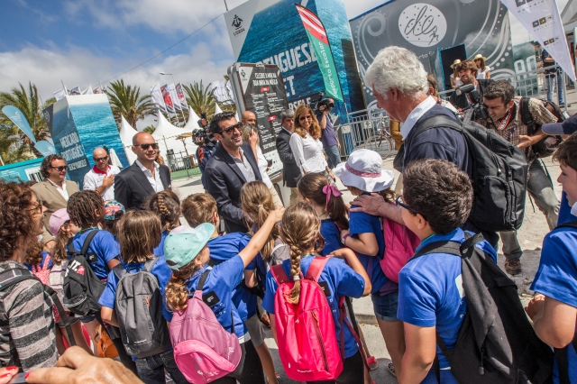 LISBON, PORTUGAL - JUNE 01:  In this handout image provided by the Volvo Ocean Race, portuguese soccer player legend, Luis Figo, visits de the Volvo Ocean Race Village in Lisbon on behalf the Luis Figo Foundation for International Children's Day during the stopover ahead of Leg 8 from Lisbon to L'Orient on May 25, 2015 in Lisbon, Portugal. The Volvo Ocean Race 2014-15 is the 12th running of this ocean marathon. Starting from Alicante in Spain on October 04, 2014, the route, spanning some 39,379 nautical miles, visits 11 ports in eleven countries (Spain, South Africa, United Arab Emirates, China, New Zealand, Brazil, United States, Portugal, France, The Netherlands and Sweden) over nine months. The Volvo Ocean Race is the world's premier ocean yacht race for professional racing crews. (Photo by Ainhoa Sanchez / Volvo Ocean Race via Getty Images)