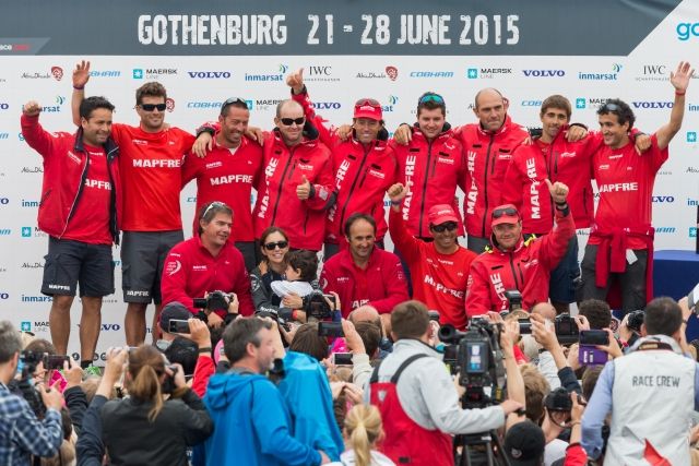GOTHENBURG, SWEDEN - JUNE 27:  In this handout image provided by the Volvo Ocean Race, MAPFRE during the prize giving following the final In-Port Race on June 27, 2015 in Gothenburg, Sweden. The Volvo Ocean Race 2014-15 is the 12th running of this ocean marathon. Starting from Alicante in Spain on October 04, 2014, the route, spanning some 39,379 nautical miles, visits 11 ports in eleven countries (Spain, South Africa, United Arab Emirates, China, New Zealand, Brazil, United States, Portugal, France, The Netherlands and Sweden) over nine months. The Volvo Ocean Race is the world's premier ocean yacht race for professional racing crews. (Photo by Carlo Borlenghi/Volvo Ocean Race via Getty Images)