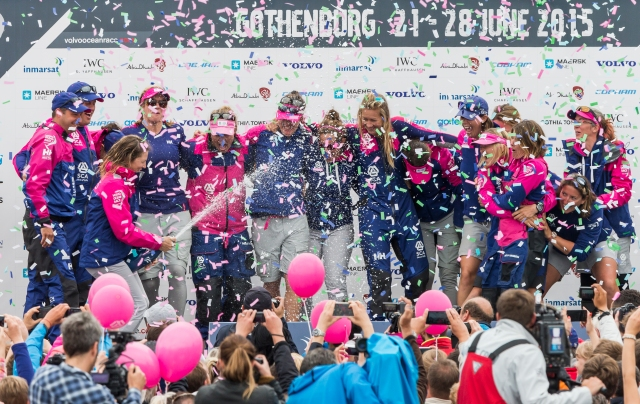 GOTHENBURG, SWEDEN - JUNE 27:  In this handout image provided by the Volvo Ocean Race, Team SCA during the prize giving following the final In-Port Race on June 27, 2015 in Gothenburg, Sweden. The Volvo Ocean Race 2014-15 is the 12th running of this ocean marathon. Starting from Alicante in Spain on October 04, 2014, the route, spanning some 39,379 nautical miles, visits 11 ports in eleven countries (Spain, South Africa, United Arab Emirates, China, New Zealand, Brazil, United States, Portugal, France, The Netherlands and Sweden) over nine months. The Volvo Ocean Race is the world's premier ocean yacht race for professional racing crews. (Photo by Carlo Borlenghi/Volvo Ocean Race via Getty Images)