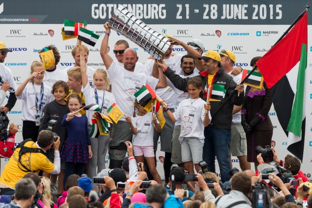 GOTHENBURG, SWEDEN - JUNE 27:  In this handout image provided by the Volvo Ocean Race, Abu Dhabi Ocean Racing during the prize giving following the final In-Port Race on June 27, 2015 in Gothenburg, Sweden. The Volvo Ocean Race 2014-15 is the 12th running of this ocean marathon. Starting from Alicante in Spain on October 04, 2014, the route, spanning some 39,379 nautical miles, visits 11 ports in eleven countries (Spain, South Africa, United Arab Emirates, China, New Zealand, Brazil, United States, Portugal, France, The Netherlands and Sweden) over nine months. The Volvo Ocean Race is the world's premier ocean yacht race for professional racing crews. (Photo by Carlo Borlenghi/Volvo Ocean Race via Getty Images)