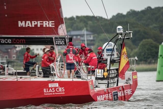 GOTHENBURG, SWEDEN - JUNE 27:  In this handout image provided by the Volvo Ocean Race,  His Majesty the King Juan Carlos onboard MAPFRE during the final In-Port Race on June 27, 2015 in Gothenburg, Sweden. The Volvo Ocean Race 2014-15 is the 12th running of this ocean marathon. Starting from Alicante in Spain on October 04, 2014, the route, spanning some 39,379 nautical miles, visits 11 ports in eleven countries (Spain, South Africa, United Arab Emirates, China, New Zealand, Brazil, United States, Portugal, France, The Netherlands and Sweden) over nine months. The Volvo Ocean Race is the world's premier ocean yacht race for professional racing crews. (Photo by Victor Fraile/Volvo Ocean Race via Getty Images)