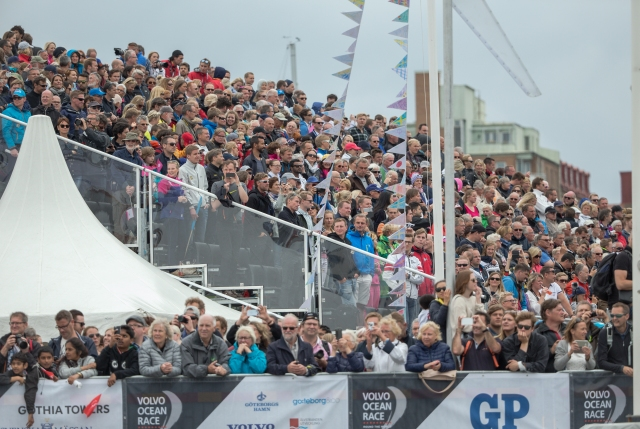GOTHENBURG, SWEDEN - JUNE 27:  In this handout image provided by the Volvo Ocean Race, Crowds during the final In-Port Race on June 27, 2015 in Gothenburg, Sweden. The Volvo Ocean Race 2014-15 is the 12th running of this ocean marathon. Starting from Alicante in Spain on October 04, 2014, the route, spanning some 39,379 nautical miles, visits 11 ports in eleven countries (Spain, South Africa, United Arab Emirates, China, New Zealand, Brazil, United States, Portugal, France, The Netherlands and Sweden) over nine months. The Volvo Ocean Race is the world's premier ocean yacht race for professional racing crews. (Photo by Victor Fraile/Volvo Ocean Race via Getty Images)