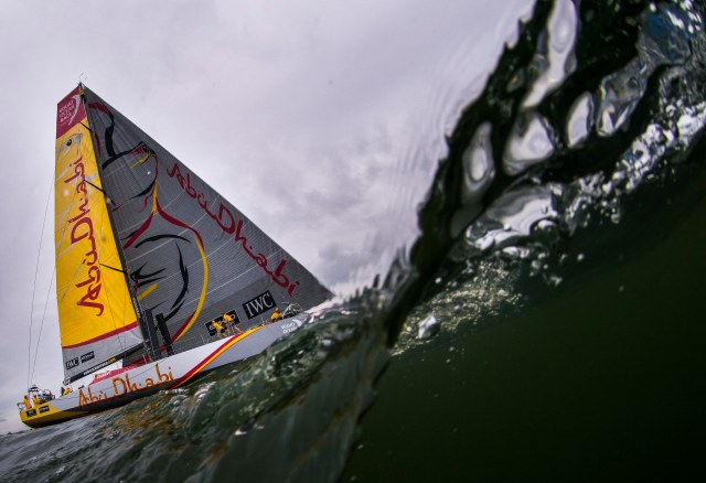 GOTHENBURG, SWEDEN - JUNE 27:  In this handout image provided by the Volvo Ocean Race, Abu Dhabi Ocean Racing during the final In-Port Race on June 27, 2015 in Gothenburg, Sweden. The Volvo Ocean Race 2014-15 is the 12th running of this ocean marathon. Starting from Alicante in Spain on October 04, 2014, the route, spanning some 39,379 nautical miles, visits 11 ports in eleven countries (Spain, South Africa, United Arab Emirates, China, New Zealand, Brazil, United States, Portugal, France, The Netherlands and Sweden) over nine months. The Volvo Ocean Race is the world's premier ocean yacht race for professional racing crews. (Photo by Victor Fraile/Volvo Ocean Race via Getty Images)