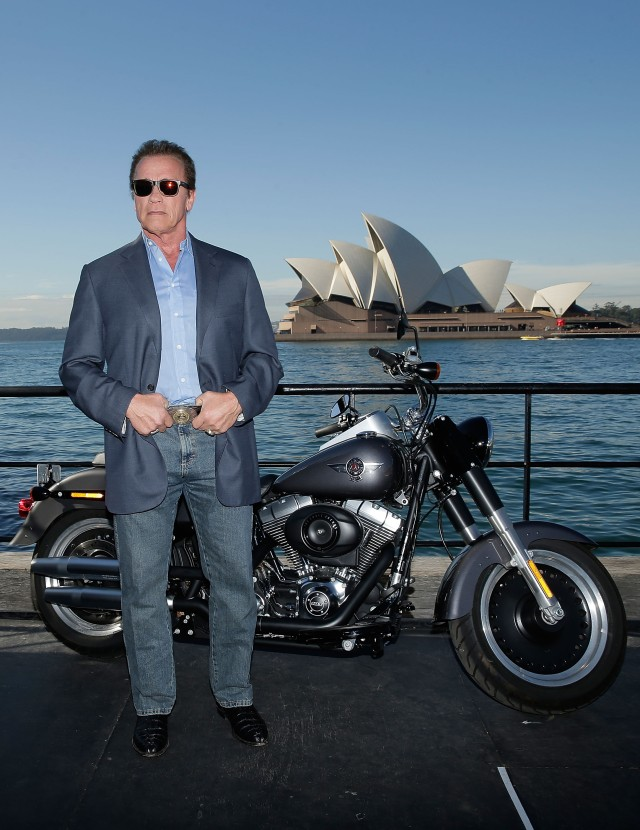 SYDNEY, AUSTRALIA - JUNE 04:  Arnold Schwarzenegger poses during a 'Terminator Genisys' photo call at the Park Hyatt Sydney on June 4, 2015 in Sydney, Australia.  (Photo by Mark Metcalfe/Getty Images for Paramount Pictures International) *** Local Caption *** Arnold Schwarzenegger