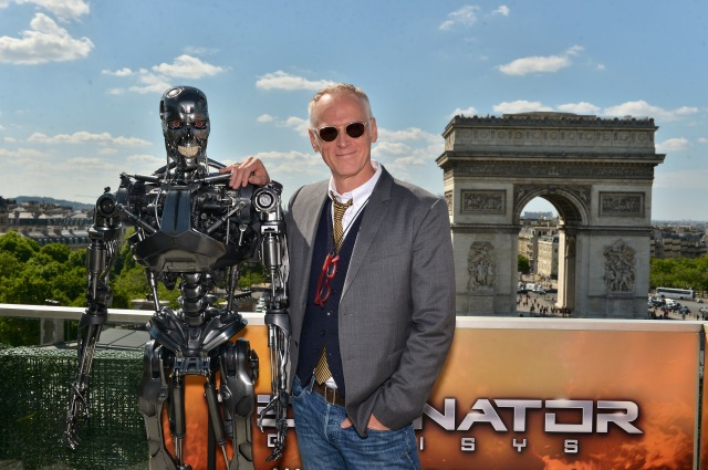 PARIS, FRANCE - JUNE 19:  Director Alan Taylor poses with Endoskeleton during the France Photocall of 'Terminator Genisys' at the Publicis Champs Elysees on June 19, 2015 in Paris, France.  (Photo by Dominique Charriau/Dominique Charriau/Getty Images for Paramount Pictures) *** Local Caption *** Alan Taylor