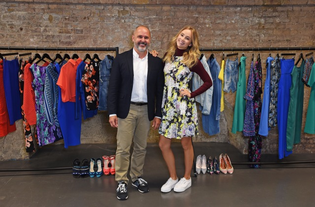 LONDON, ENGLAND - JULY 23:  Sergio Bucher, Vice President of Amazon Fashion Europe, and Suki Waterhouse pose at the Amazon Fashion Photography Studio, which opened on July 23, 2015 in London, England. Suki will be the first model to shoot in the studio as the face of Amazon FashionÕs Autumn/Winter 15 campaign..  (Photo by David M. Benett/Dave Benett/Getty Images for Amazon Fashion) *** Local Caption *** Sergio Bucher; Suki Waterhouse