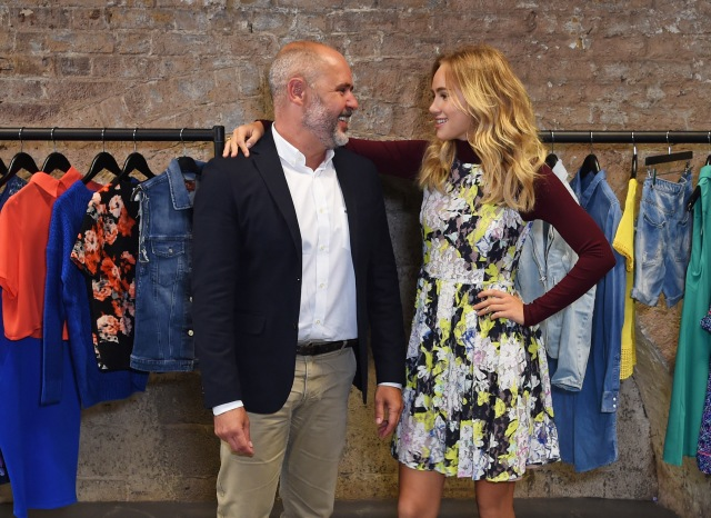 LONDON, ENGLAND - JULY 23:  Sergio Bucher, Vice President of Amazon Fashion Europe, and Suki Waterhouse pose at the Amazon Fashion Photography Studio, which opened on July 23, 2015 in London, England. Suki will be the first model to shoot in the studio as the face of Amazon FashionÕs Autumn/Winter 15 campaign.  (Photo by David M. Benett/Dave Benett/Getty Images for Amazon Fashion) *** Local Caption *** Sergio Bucher; Suki Waterhouse