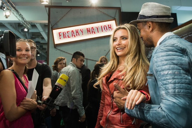 BERLIN, GERMANY - JULY 08: Sophia Thomalla and Patrice Bouedibela attend the presentation of Sophia Thomalla & Friends - The Saga Continues for Freaky Nation on July 8, 2015 in Berlin, Germany. (Photo by Matthias Nareyek/Getty Images for Freaky Nation)