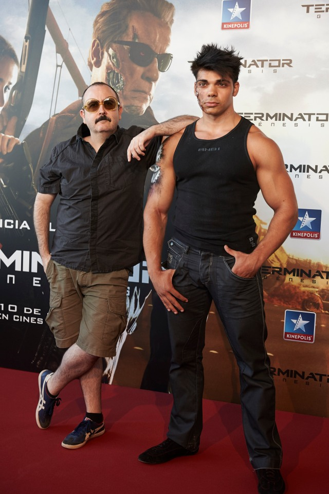 "Actor Carlos Areces (R) attends ""Terminator Genesis"" premiere at the Kinepolis cinema on July 08, 2015 in Madrid, Spain. (Photo by Carlos Alvarez Getty Images for Paramount Pictures)."
