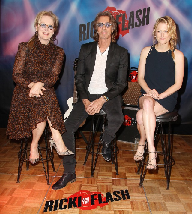 "New York, NY - 8/2/15 : Meryl Streep, Rick Springfield and Mamie Gummer arrive at the NY Photocall for TriStar Pictures' ""RICKI AND THE FLASH"" at the Ritz Carlton Hotel."