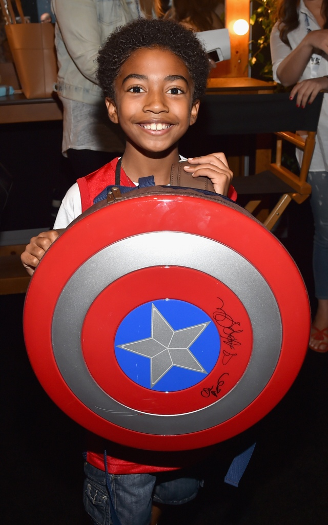 "ANAHEIM, CA - AUGUST 15: Actor Miles Brown took part today in ""Worlds, Galaxies, and Universes: Live Action at The Walt Disney Studios"" presentation at Disney's D23 EXPO 2015 in Anaheim, Calif. (Photo by Alberto E. Rodriguez/Getty Images for Disney) *** Local Caption *** Miles Brown"