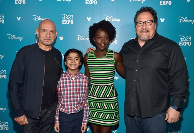 "ANAHEIM, CA - AUGUST 15: (L-R) Actors Ben Kingsley, Neel Sethi, Lupita Nyong'o and director Jon Favreau of THE JUNGLE BOOK took part today in ""Worlds, Galaxies, and Universes: Live Action at The Walt Disney Studios"" presentation at Disney's D23 EXPO 2015 in Anaheim, Calif. (Photo by Alberto E. Rodriguez/Getty Images for Disney) *** Local Caption *** Ben Kingsley; Neel Sethi; Lupita Nyong'o; Jon Favreau"