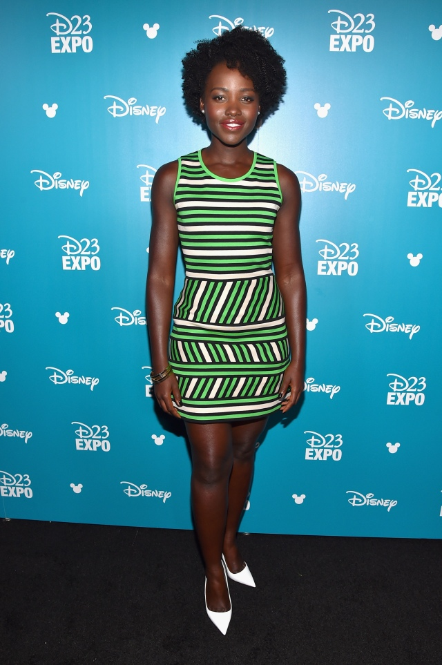 "ANAHEIM, CA - AUGUST 15: Actress Lupita Nyong'o of THE JUNGLE BOOK took part today in ""Worlds, Galaxies, and Universes: Live Action at The Walt Disney Studios"" presentation at Disney's D23 EXPO 2015 in Anaheim, Calif. (Photo by Alberto E. Rodriguez/Getty Images for Disney) *** Local Caption *** Lupita Nyong'o"