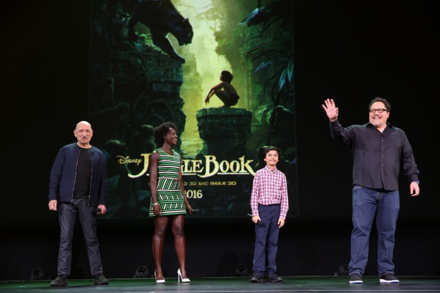 "ANAHEIM, CA - AUGUST 15: (L-R) Actors Ben Kingsley, Lupita Nyong'o, Neel Sethi and director Jon Favreau of THE JUNGLE BOOK took part today in ""Worlds, Galaxies, and Universes: Live Action at The Walt Disney Studios"" presentation at Disney's D23 EXPO 2015 in Anaheim, Calif. (Photo by Jesse Grant/Getty Images for Disney) *** Local Caption *** Ben Kingsley; Lupita Nyong'o; Neel Sethi; Jon Favreau"