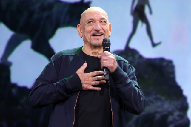 "ANAHEIM, CA - AUGUST 15: Actor Ben Kingsley of THE JUNGLE BOOK took part today in ""Worlds, Galaxies, and Universes: Live Action at The Walt Disney Studios"" presentation at Disney's D23 EXPO 2015 in Anaheim, Calif. (Photo by Jesse Grant/Getty Images for Disney) *** Local Caption *** Ben Kingsley"