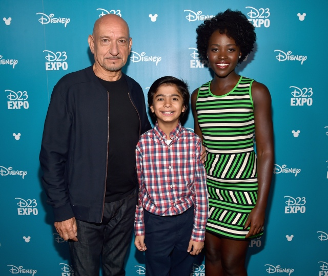 "ANAHEIM, CA - AUGUST 15: (L-R) Actors Ben Kingsley, Neel Sethi and Lupita Nyong'o of THE JUNGLE BOOK took part today in ""Worlds, Galaxies, and Universes: Live Action at The Walt Disney Studios"" presentation at Disney's D23 EXPO 2015 in Anaheim, Calif. (Photo by Alberto E. Rodriguez/Getty Images for Disney) *** Local Caption *** Ben Kingsley; Neel Sethi; Lupita Nyong'o"
