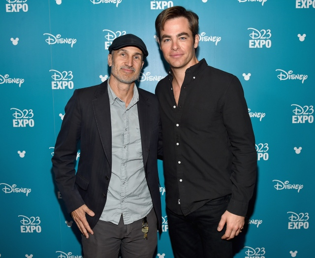 "ANAHEIM, CA - AUGUST 15: Director Craig Gillespi (L) and actor Chris Pine of THE FINEST HOURS took part today in ""Worlds, Galaxies, and Universes: Live Action at The Walt Disney Studios"" presentation at Disney's D23 EXPO 2015 in Anaheim, Calif. THE FINEST HOURS will be released in U.S. theaters on January 29, 2016. (Photo by Alberto E. Rodriguez/Getty Images for Disney) *** Local Caption *** Chris Pine; Craig Gillespi"
