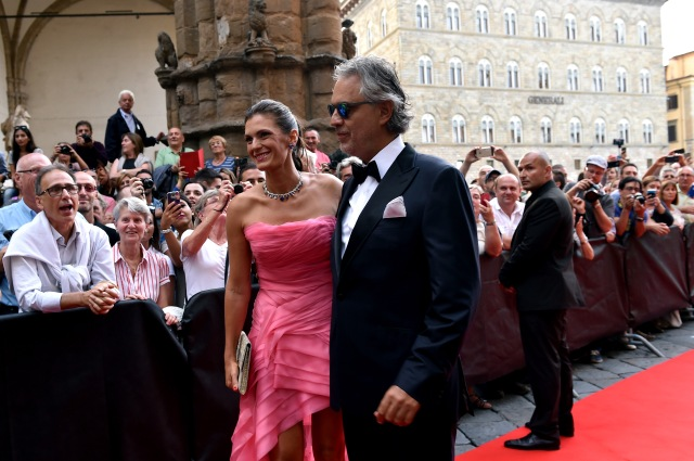 FLORENCE, ITALY - SEPTEMBER 13:  Andrea Bocelli and Veronica Berti attend the 'Celebrity Fight Night' sponsored by Jeep at Palazzo Vecchio on September 13, 2015 in Florence, Italy.  (Photo by Tullio M. Puglia/Getty Images)