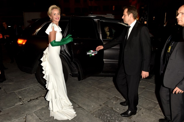 FLORENCE, ITALY - SEPTEMBER 13:  Sharon Stone arrives at Palazzo Vecchio to attend the 'Celebrity Fight Night' sponsored by Jeep on September 13, 2015 in Florence, Italy.  (Photo by Tullio M. Puglia/Getty Images)